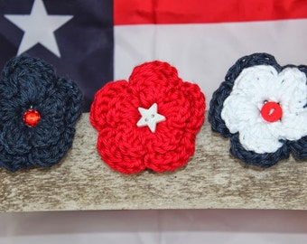 Set of Three Flower Hair Clips - 4th of July Star  - red, white, and blue with gem and button centers