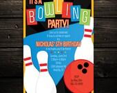 Printable Bowling Invitation -- Retro Bowling Birthday Party Invitation -- Any Color