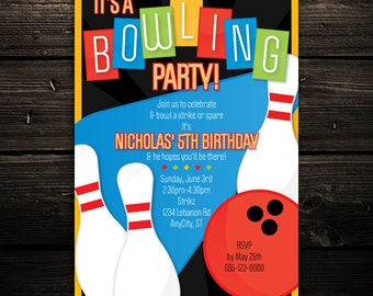 Printable Bowling Invitation -- Retro Bowling Birthday Party Invitation -- Any Color