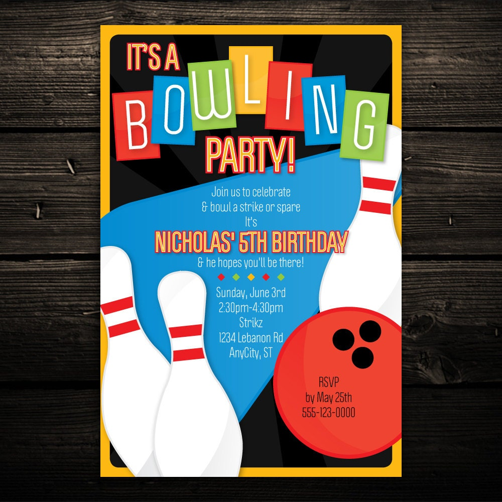 Bowling party – Printable Bowling Party Invitations