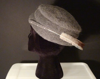 Gray Pillbox Hat Vintage Grey Melosoie Hat Mohair Hat Cloche Feathered Cap 50s 60s Brimmed Hat