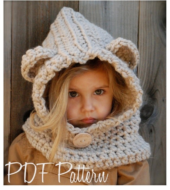 Free Crochet Pattern Toddler Hooded Cowl : CROCHET PATTERN Baylie Bear Cowl 3/6 months by Thevelvetacorn