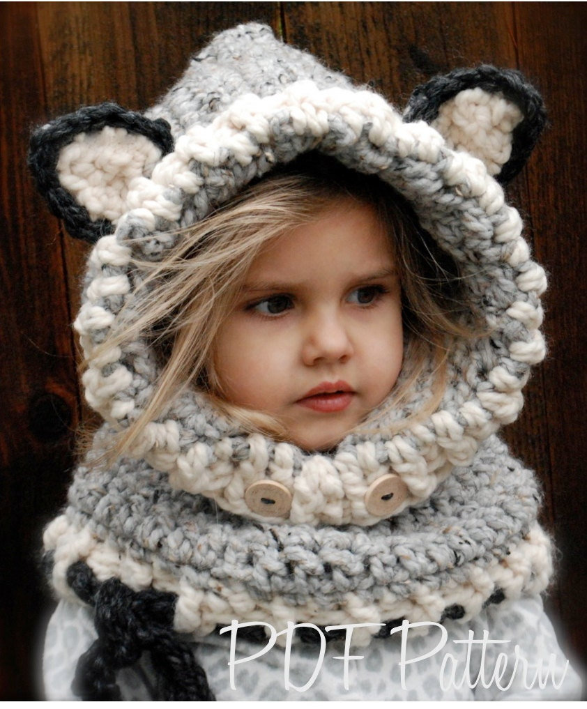 Free Crochet Pattern Toddler Hooded Cowl : CROCHET PATTERN Woodlynn Wolf Cowl 12/18 months Toddler