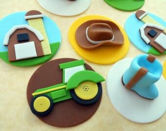 COWBOY DELUXE SET. Edible Cupcake Toppers