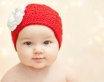 Crochet Girls Hat - Baby Hat - Toddler Hat - Newborn Hat - Winter Hat - Christmas Hat - Red with White Flower - in sizes Newborn to 3 Years