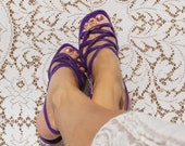 Purple Strappy Mod Sandals