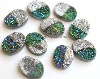 One Bright Metallic Silver Green Purple and Blue Sparkling Druzy Oval Shape Cabochon 20 x 15mm