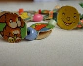 Vintage Children Necklace, Handmade Cutout Paper and Glass Beads