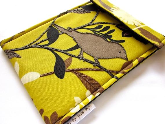 kindle fire sleeve / iPad mini / kindle keyboard case / hand embroidered embellished gadget cover / saffron mustard yellow / black bird
