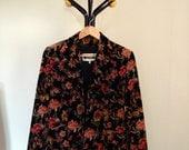 Veste vintage à fleurs en velours /// Velvet flowered jacket