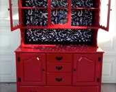 Glossy Red Vintage Hutch