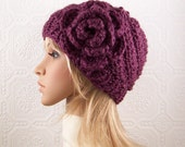 Hand knit hat - mulberry or your color choice -  handmade Winter Fashion Accessories by Sandy Coastal Designs