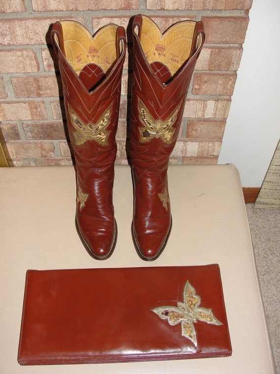 Rare 70s justin butterfly boots snakeskin inlay with matching clutch