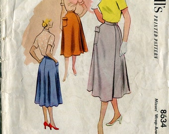 McCall's 8634 Vintage 50s Wrap Around Skirt Sewing Pattern W26