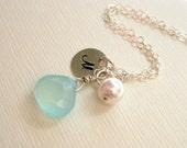 Personalized necklace, Beach jewelry, Ocean sea Pendant, Aqua gemstone necklace, Initial charm necklace, Custom beach wedding necklace