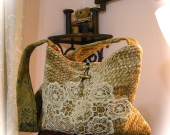 Small Chenille Handbag, thick lush soft pillowy chenille fabric bag, taupe caramel, romantic vintage lace applique, SMALL