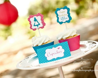 Tea Party Cupcake Toppers DIGITAL File 8.5  x 11 Jpeg File Personalized