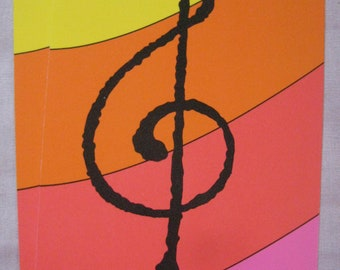 Vintage Current Rainbow Music Treble Clef Notecards