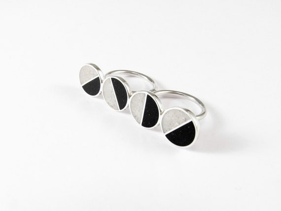 Sterling Silver, Double Ring, Statement Ring, Black, White, Divided Circles, Contemporary, Modern, Minimal