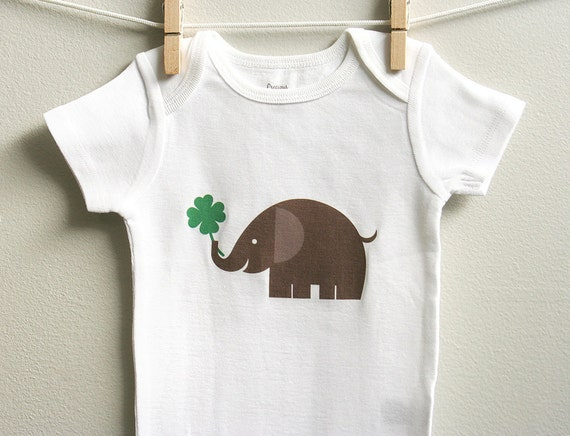 St Patricks baby clothes elephant and four leaf clover