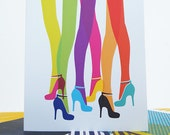 Card Rainbow High Heels Blank Greetings Thank You Party Invite