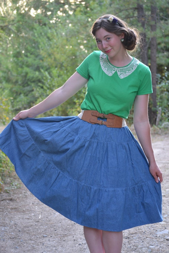 Denim Tiered Skirt - Ruffled Jean Skirt - Ready to Ship