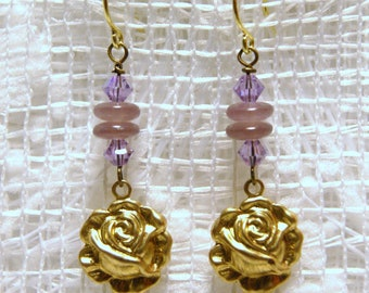 """Brass Roses with Shades of Purple Glass and Swarovski Crystals Dangle Earrings--""""Somber Rosettes"""""""