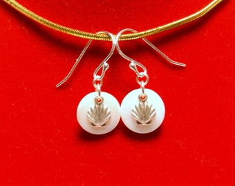 "Dainty Round Mother of Pearl Earrings with Sterling Silver Shells--""Beachcomber"""