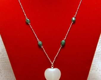 "Light Green Prehnite Heart Pendant with Natural Emerald Accents and Twisted Link Sterling Silver Chain Necklace--""Heart of Nature"""