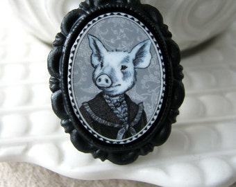 pig pin - animal brooch - black and white victorian style portrait