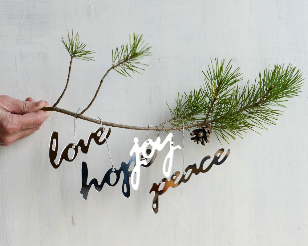 Mirror Word Ornament Set Peace Hope Love Joy Set of 4