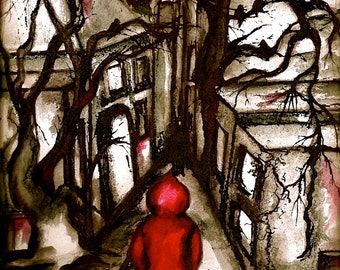 Red Hood- Whimsical Fairytale Print of original Watercolor painting by SQ Streater
