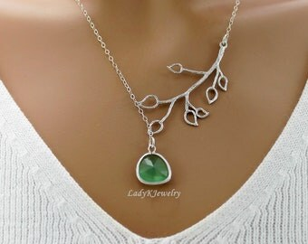 Peridot and Branch Sterling Silver Necklace, Bridal, Wedding, Bridesmaids Gift, Everyday Wear