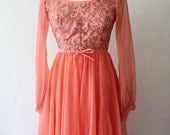 1960's Peach chiffon and beaded Ice-Skater dress by Jack Bryan Designed by Dupuis