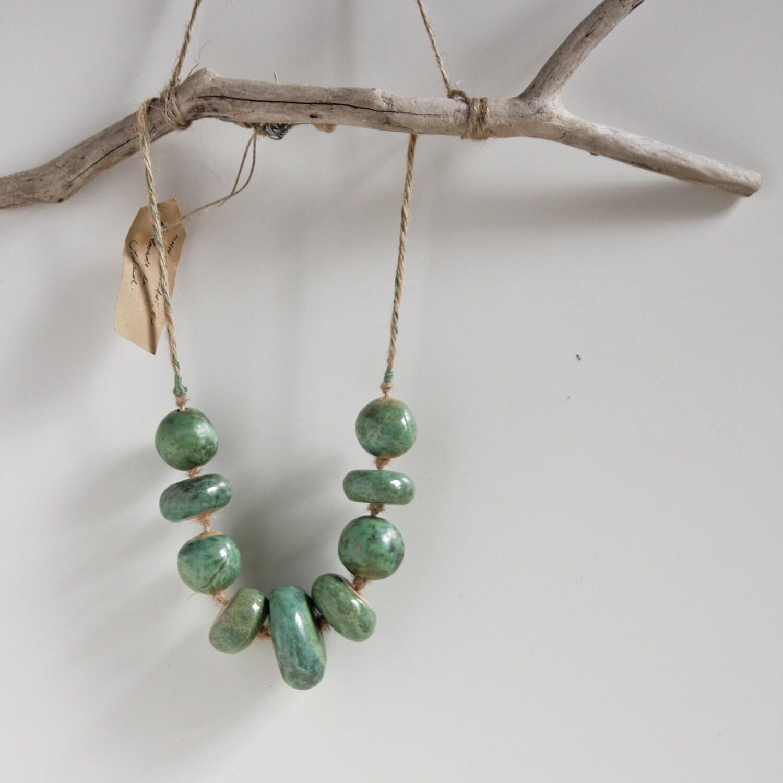 50 % off aqua beaded necklace ceramic jewelry unique by karoArt