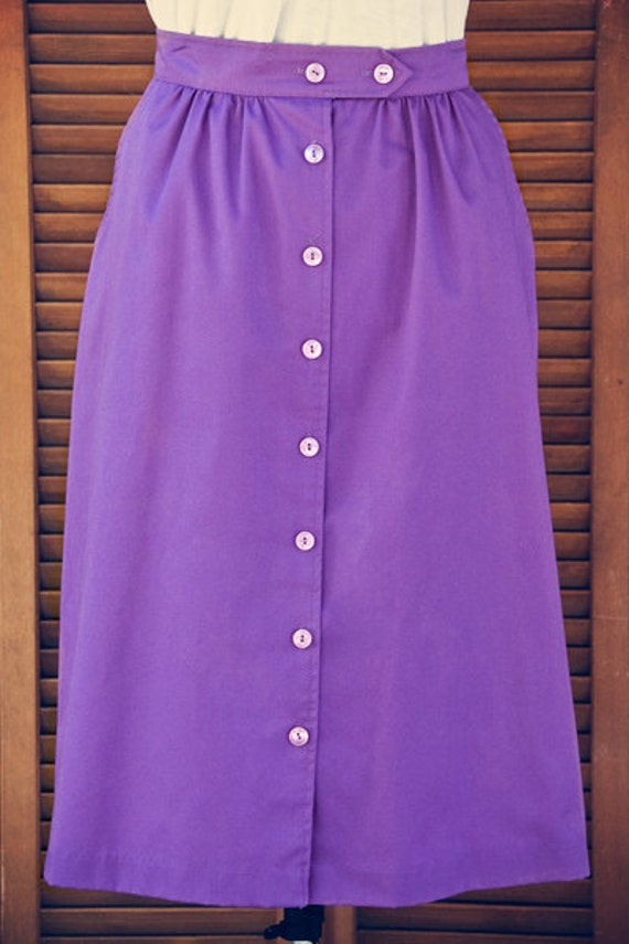 Lavender Midi Skirt-1970s Vintage by Liberated Lady