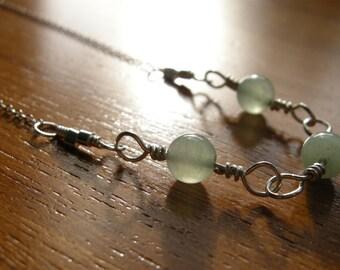SALE Jazz Age Necklace - Green Aventurine Sterling Silver / Modern Minimalist 1920s Inspired, Art Deco Mint Dot Design, The Great Gatsby