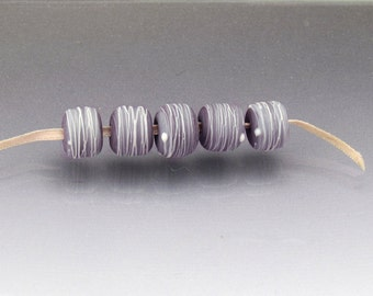 Mauve glass bead set, purple beads, pink beads, lampwork glass beads Cocoon Anne Londez  SRA