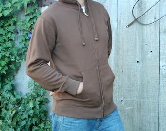 Custom Printed Men's Organic Cotton Zip Up Hoody