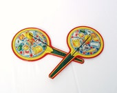1940s Noisemakers Tin Clackers Cocktail Party Favors Lot of 2 Old Tin Toy Yellow Red Lithographs - Halloween Party