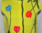 Vintage 60s Embroidered Flower Sweater by Phil Rose sleeveless cardigan S