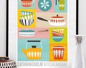 Cathrineholm poster, Kitchen art, retro kitchenware, mid century poster, retro kitchen decor, kitchen poster, scanidnavian design  A2