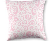 16 x 16 Pink White Swirl Pillow Cover - Contemporary Modern Throw Toss Accent Pillow Cover Perfect for Girl's Bedroom