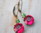 Valentines Jewelry Vintage Earrings Swarovski Crystal Bridesmaids Jewelry Dangle Jewelry Bridesmaids Gift Fuchsia Jewel - Candy apple