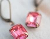 Dangle Earrings French Rose Pink Earrings Swarovski Crystal Vintage Earrings Estate Style