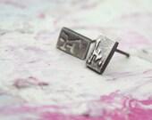 square studs rectangle earrings japanese inspired minimalist jewelry mandarin writing
