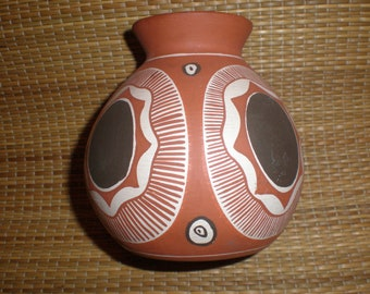 Sun Pottery Native American Vintage Vase Indigenous Red Clay Hand Painted & Signed