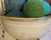 Wool dryer balls, Trees and Seas, set of 10 Free Shipping in USA