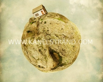 Fantasy art, surreal photo, blue wooden house, tiny planet, cloudy sky, nursery room decor, little prince