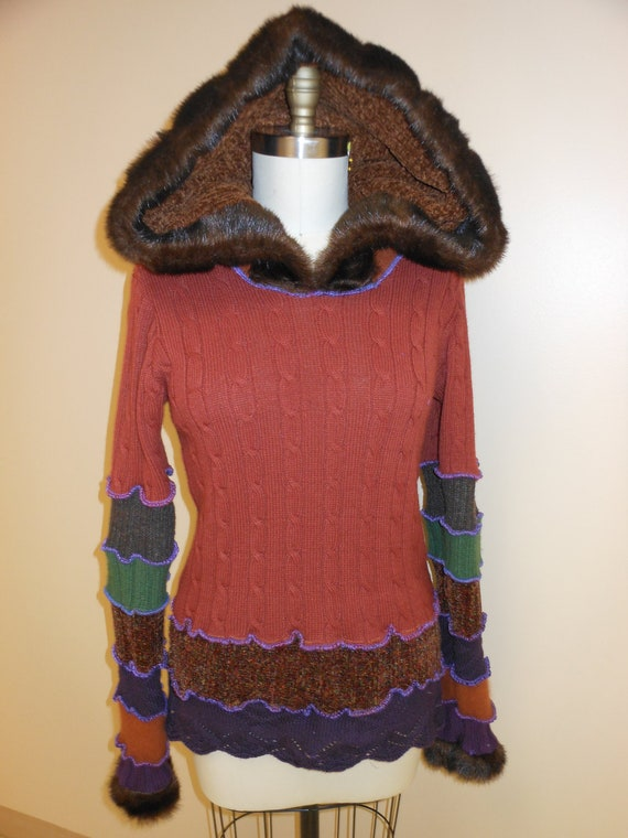 Recycled Sweater Swoodie Fall Fairy Jacket Coat Oranges, Purples, Greens With Fur By SewWonderifical